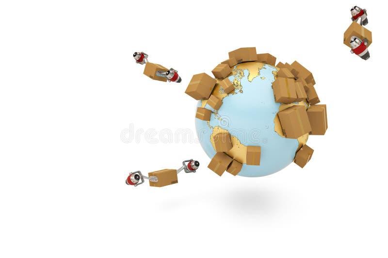 Verschepend conceptenkarton wereldwijd met straalmotor en gouden bol stock illustratie