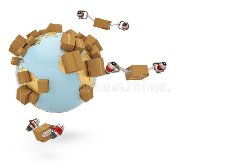 Verschepend conceptenkarton wereldwijd met straalmotor en gouden bol vector illustratie
