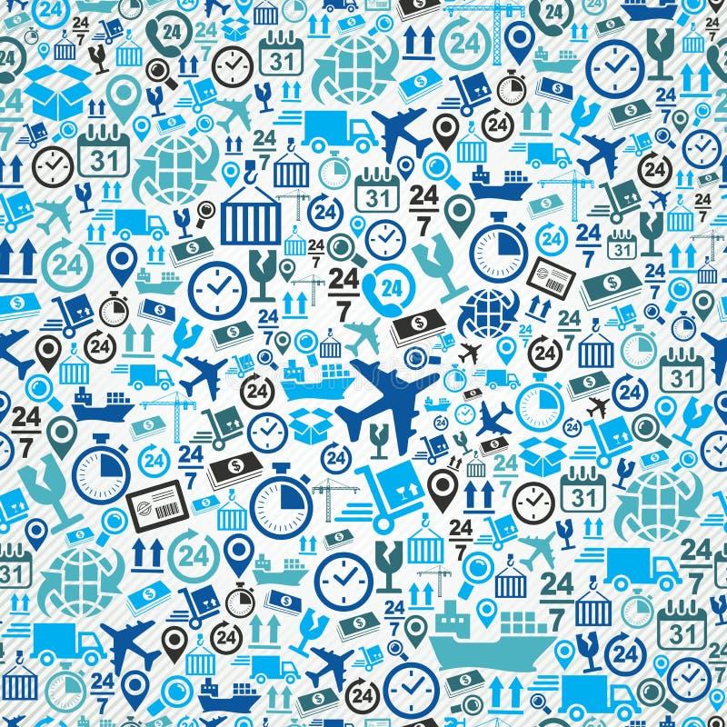Verschepend logistisch naadloos patroon blauw pictogram vastgestelde B stock illustratie