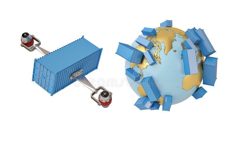 Verschepende conceptencontainer wereldwijd met straalmotor en bol stock illustratie
