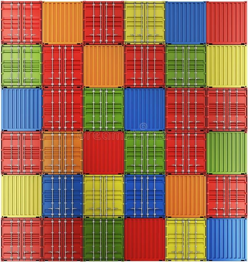 Verschepende containers in een net stock illustratie