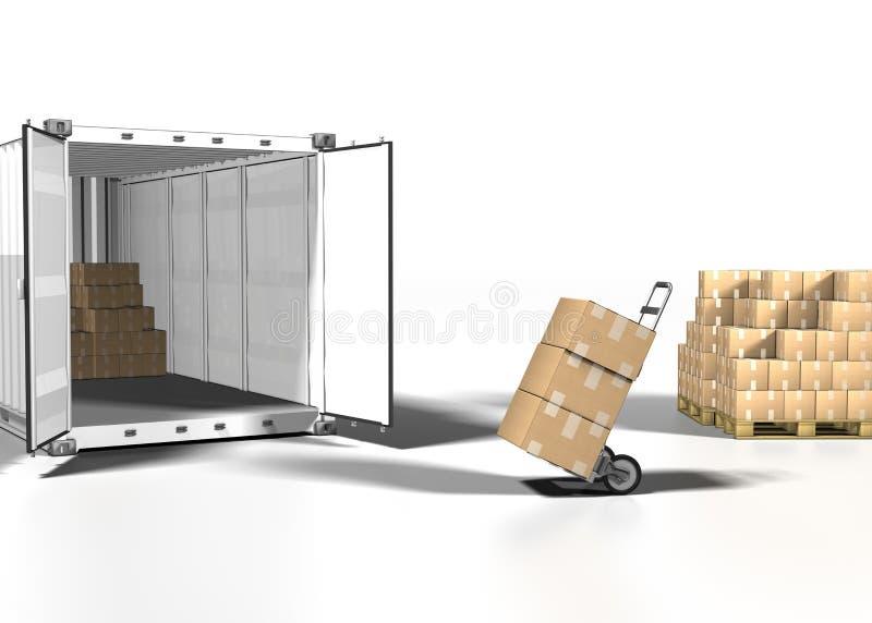 Verschepende doos en container vector illustratie