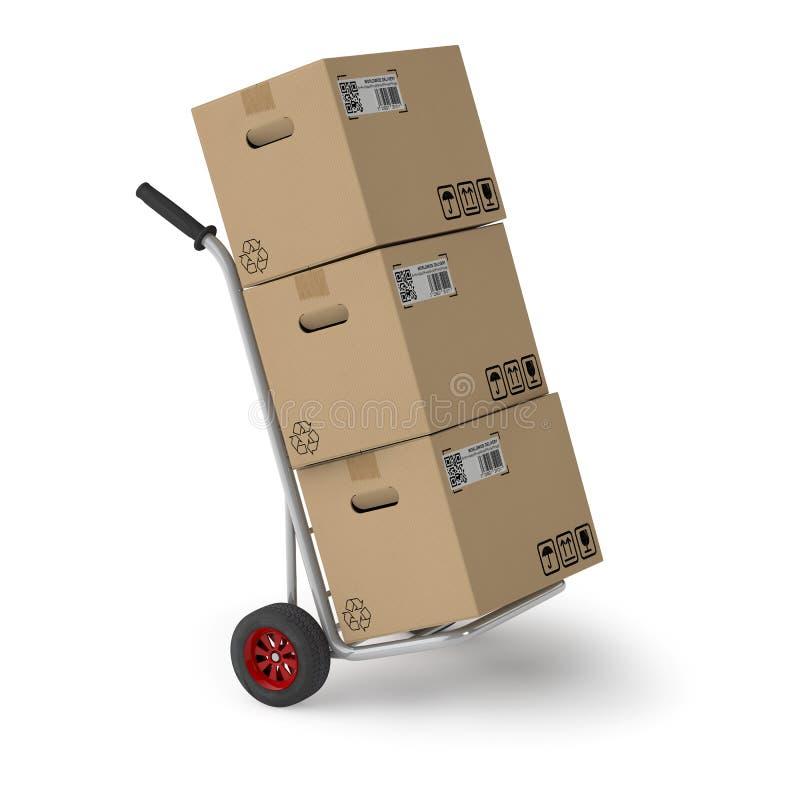 Verschepende dozen op handvrachtwagen royalty-vrije illustratie