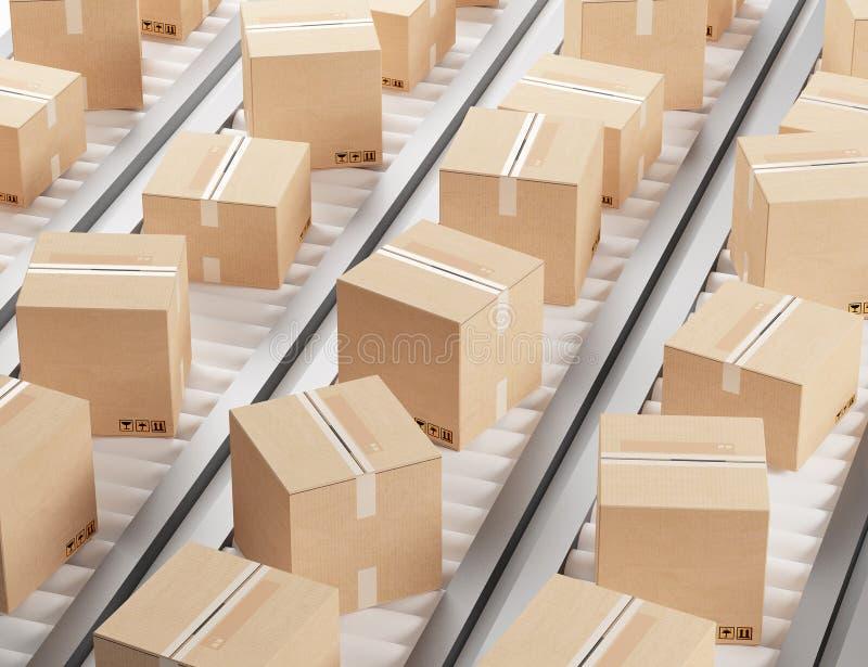Verschepende dozen in pakhuis of opslag vector illustratie
