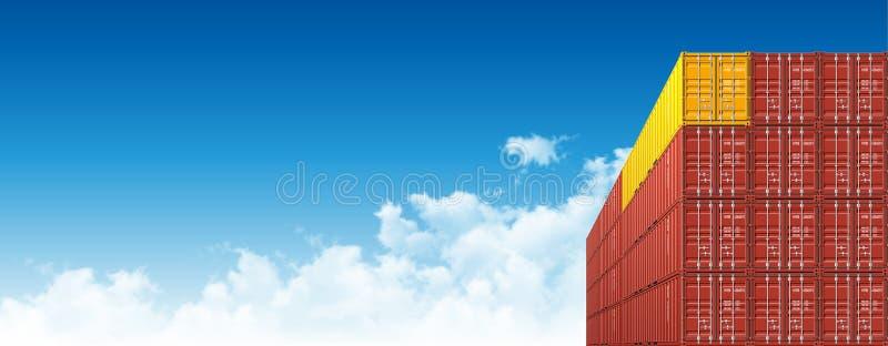 Verschepende Ladingscontainers voor Logistiek en Vervoer vector illustratie