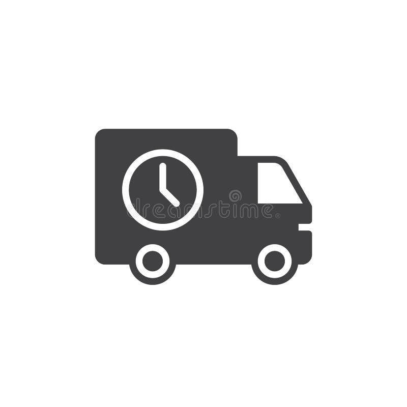 Verschepende vrachtwagen met de vector van het klokpictogram stock illustratie