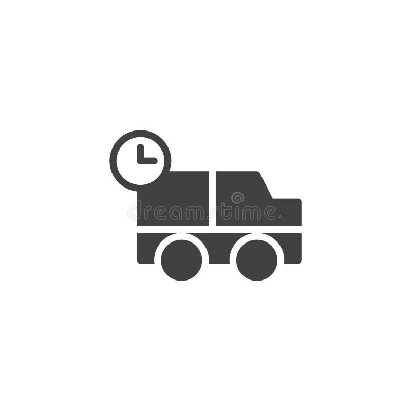 Verschepende vrachtwagen met de vector van het klokpictogram royalty-vrije illustratie