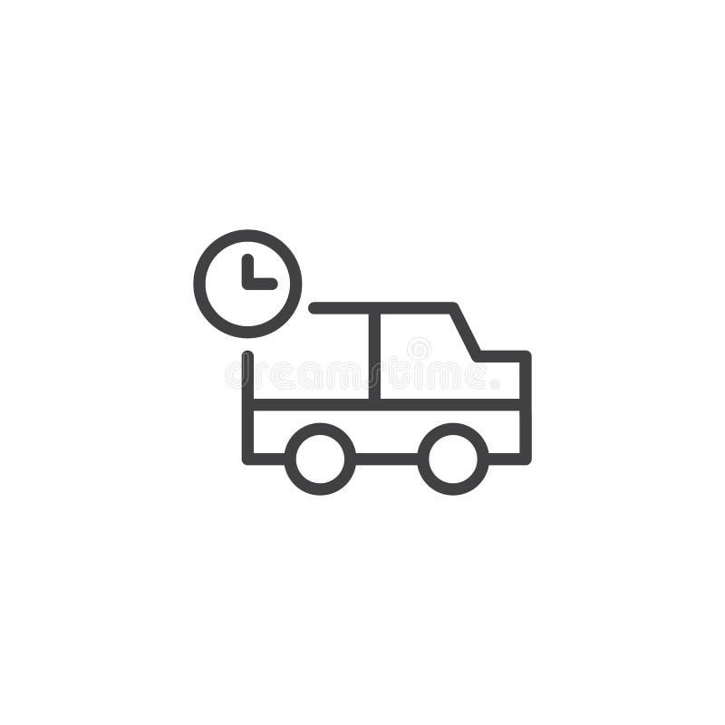 Verschepende vrachtwagen met het pictogram van de kloklijn vector illustratie