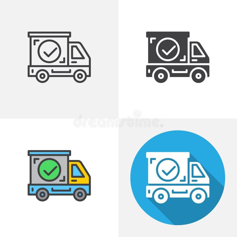 Verschepende vrachtwagen met vinkjepictogram vector illustratie