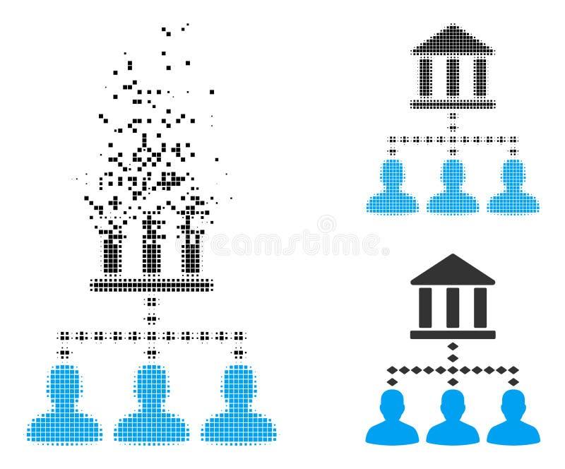 Verscheurd Dot Halftone Bank Building Client-Verbindingenpictogram royalty-vrije illustratie