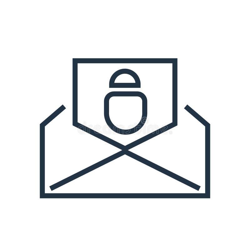 Verschicken Sie den Ikonenvektor, der auf weißem Hintergrund, Postzeichen lokalisiert wird stock abbildung