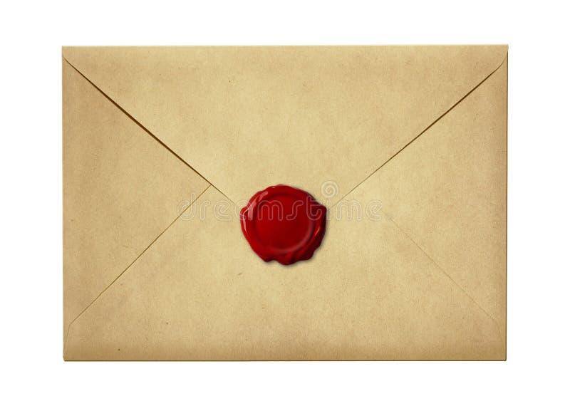 Verschicken Sie den Umschlag oder Brief, die mit Wachssiegelstempel versiegelt werden lizenzfreies stockbild
