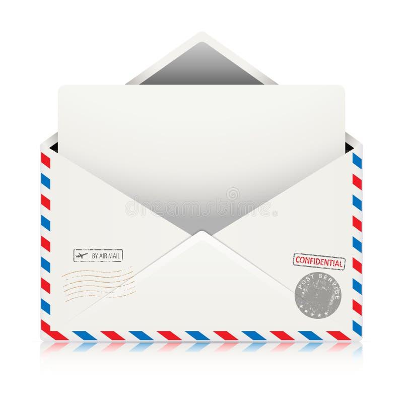 Verschicken Sie Lufthülle mit dem Poststempel, der auf weißem Hintergrund lokalisiert wird lizenzfreie abbildung