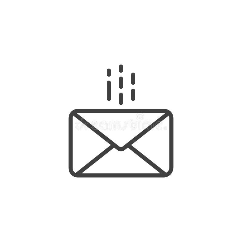 Verschickende Umschlagmitteilungslinie Ikone lizenzfreie abbildung
