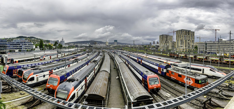 Verschiebebahnhof in Zürich die Schweiz stockfotografie