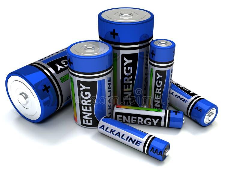 Verschieden - sortierte alkalische Batterien stock abbildung