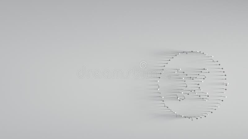 verschieden von den Metallnägeln in Form des Löschens stockfoto