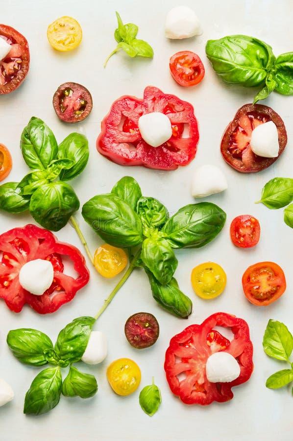 Verschieden von geschnittenen Tomaten mit Mozzarellakäse und frischem Basilikum stockfotografie