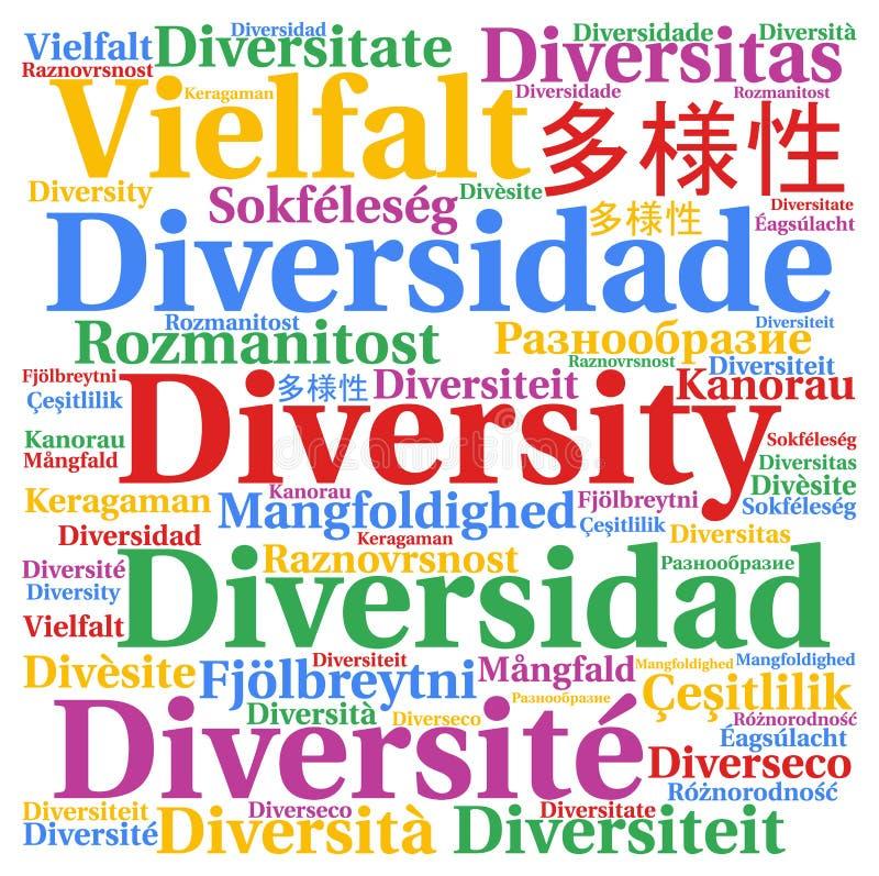 Verschiedenartigkeit in der unterschiedlichen Sprachwortwolke stock abbildung