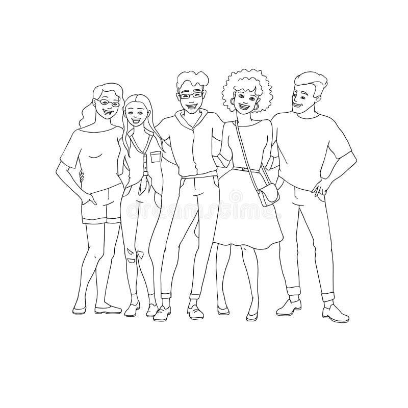 Verschiedenartigkeitsgruppe von personen umarmt - übergeben Sie gezogener Linie jungen Teamaufenthalt zusammen mit glücklichem Lä stock abbildung