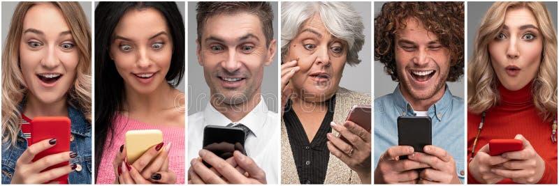 Verschiedene überraschte Leute mit Smartphones stockfotos