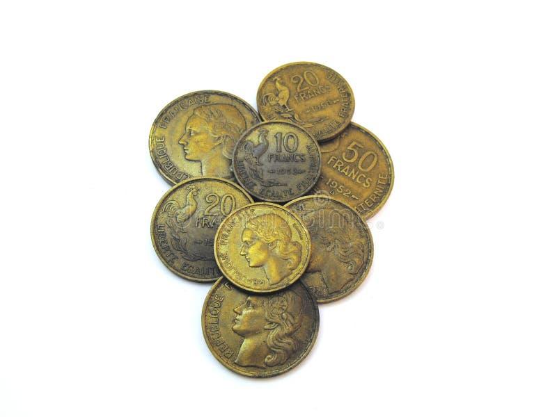 Verschiedene alte benutzte französische Franc lizenzfreie stockfotos