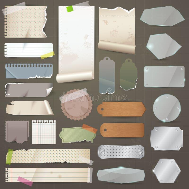Verschiedene alte Reststücke Material solches Papier, Glas, Metall, stock abbildung