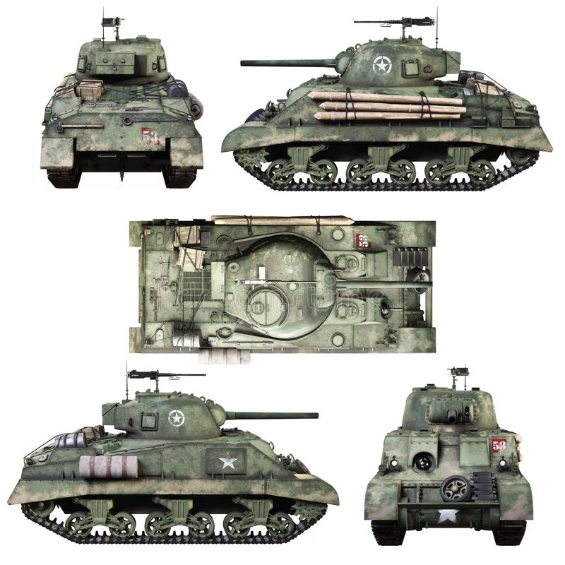 Verschiedene Ansichten eines Weinlese-amerikanischen Weltkriegs 2 verbanden gepanzerten mittleren Kampfpanzer auf einem lokalisie vektor abbildung