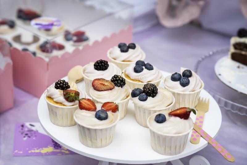 Verschiedene appetitanregende Tartlets, Kuchenkorb mit weißer Creme und frische mehrfarbige Beeren, frischer Sommernachtisch stockfotos