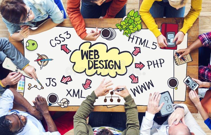 Verschiedene arbeitende Leute und Webdesign-Konzept lizenzfreie stockfotos