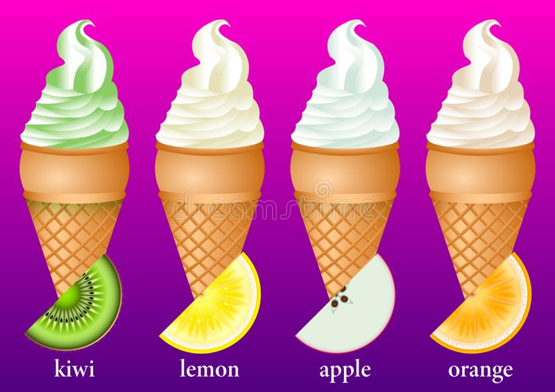 Verschiedene Arten der Eiscreme in den Waffelschalen: Kiwi, Zitrone, Apfel, Orange stock abbildung