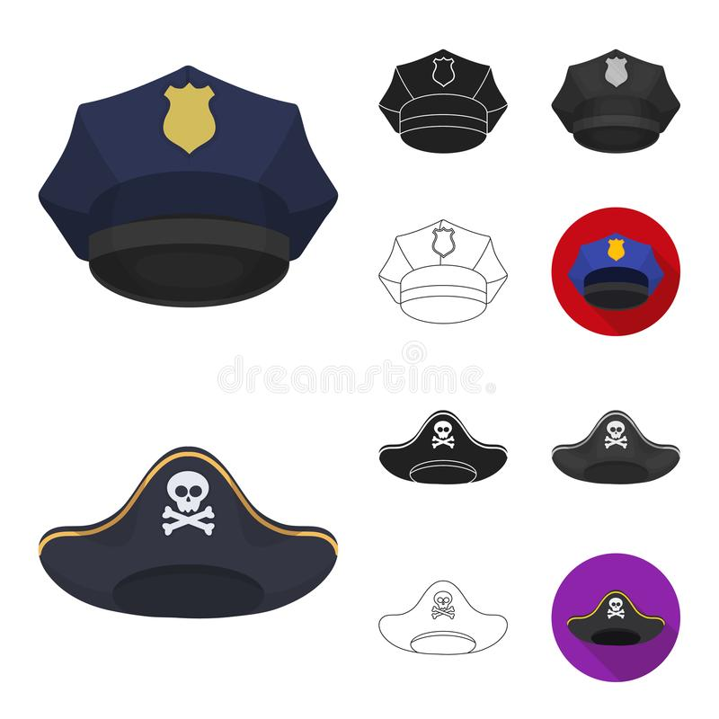 Verschiedene Arten der Hutkarikatur, Schwarzes, flach, einfarbig, Entwurfsikonen in der Satzsammlung für Design Kopfschmuckvektor lizenzfreie abbildung