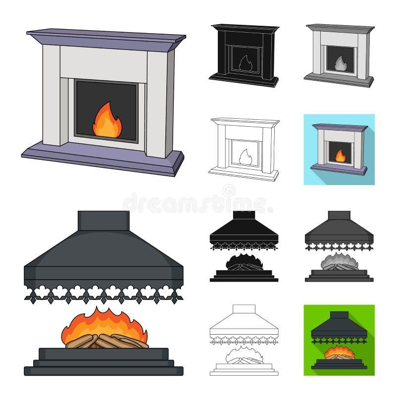 Verschiedene Arten der Kaminkarikatur, Schwarzes, flach, einfarbig, Entwurfsikonen in der Satzsammlung für Design kamine lizenzfreie abbildung