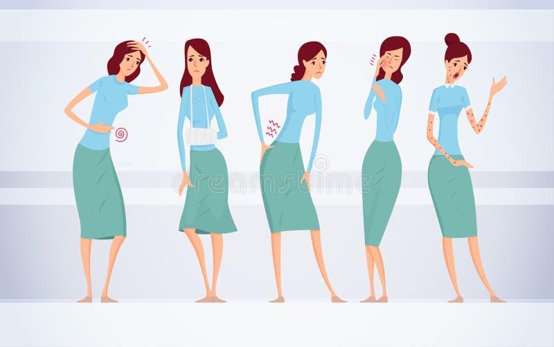 Verschiedene Arten der weiblichen Krankheitsvektorillustration lizenzfreie abbildung