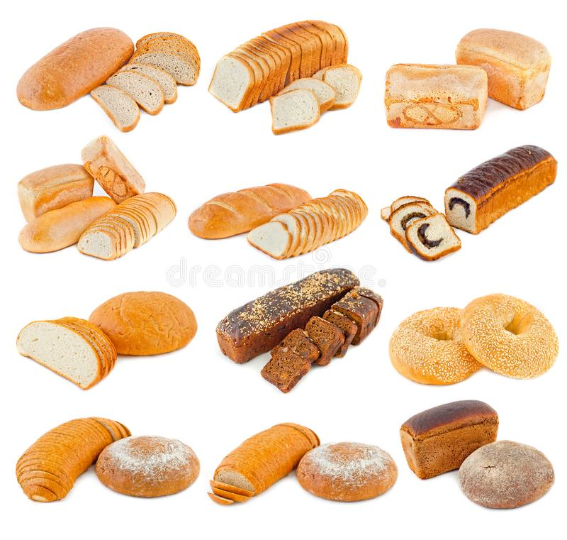 Verschiedene Arten des Brotes auf einem weißen Hintergrund stockfoto