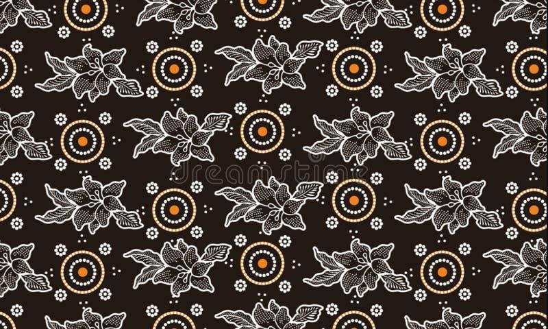 Verschiedene Arten von Batikmotiven Der Batik, der indonesisch ist, ist eine Technik des Decklacks färbend angewendet am ganzen S stock abbildung