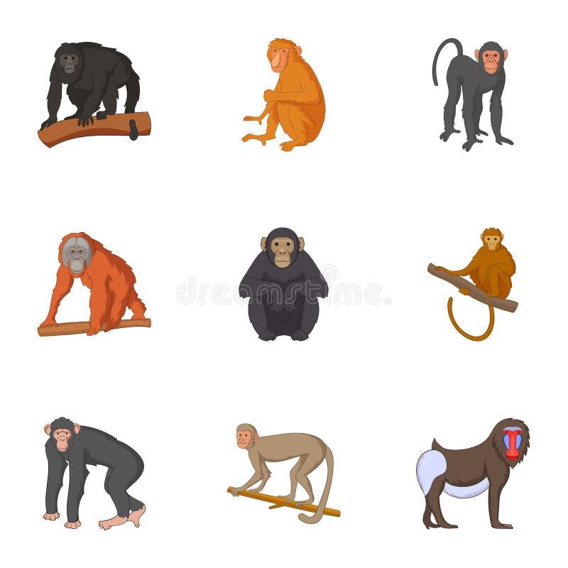 Verschiedene Arten von den Affeikonen eingestellt lizenzfreie abbildung