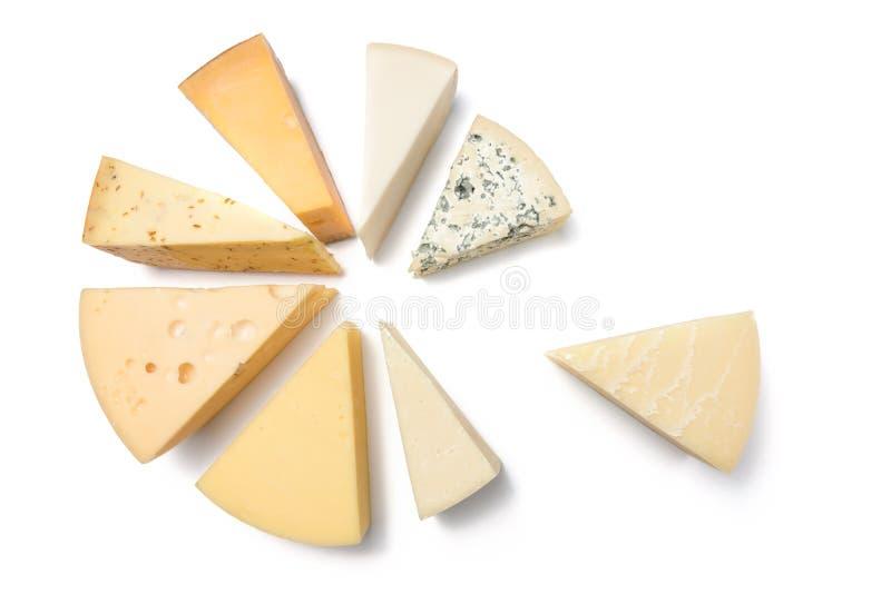Verschiedene Arten von den Käsen lokalisiert auf weißem Hintergrund lizenzfreies stockfoto