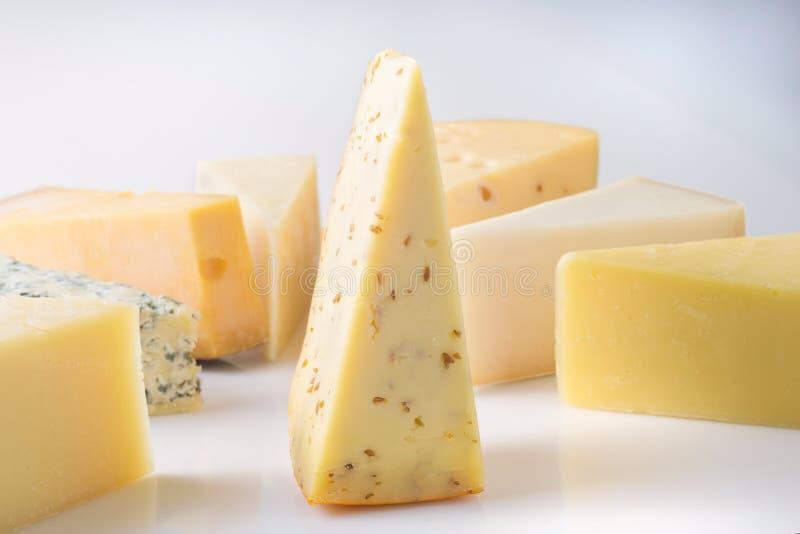 Verschiedene Arten von den Käsen lokalisiert auf weißem Hintergrund stockfoto
