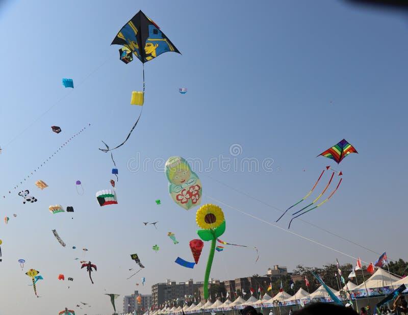 Verschiedene Arten von Drachen - 29. internationales Drachenfestival 2018 - Indien stockbilder