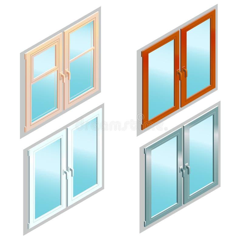 Verschiedene Arten von Fenstern in der isometrischen Ansicht lizenzfreie abbildung