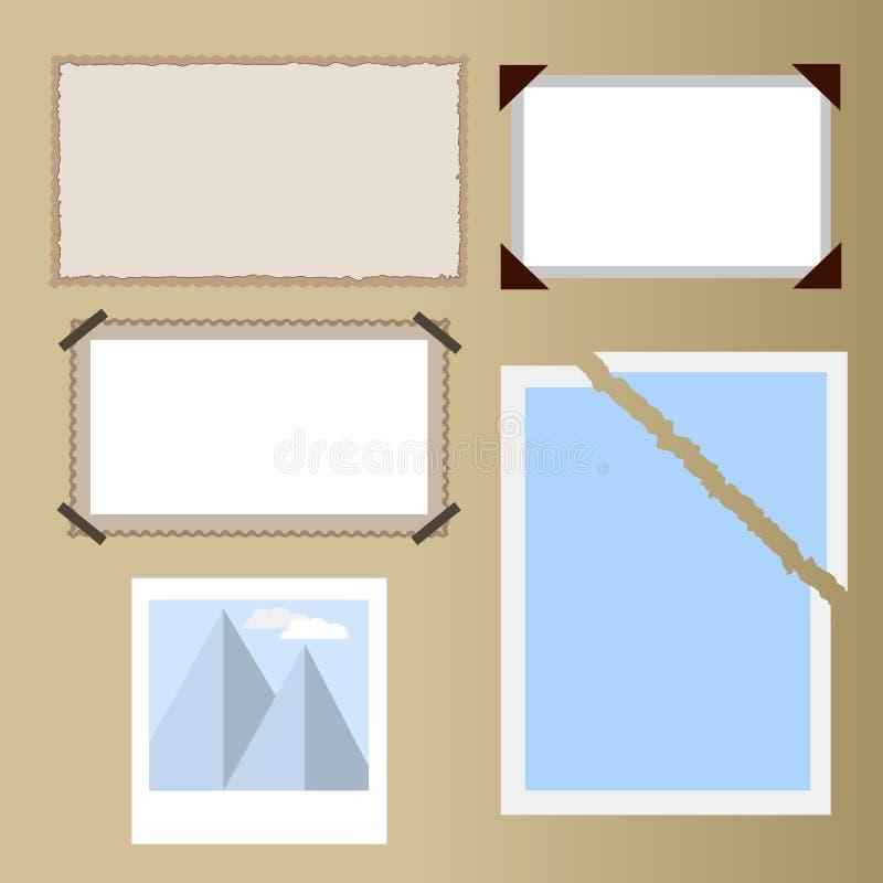 Verschiedene Arten von Fotos, altes Papier, altes Foto, zerrissenes Foto, Foto im Album, mit prägeartigem Rand lizenzfreie abbildung