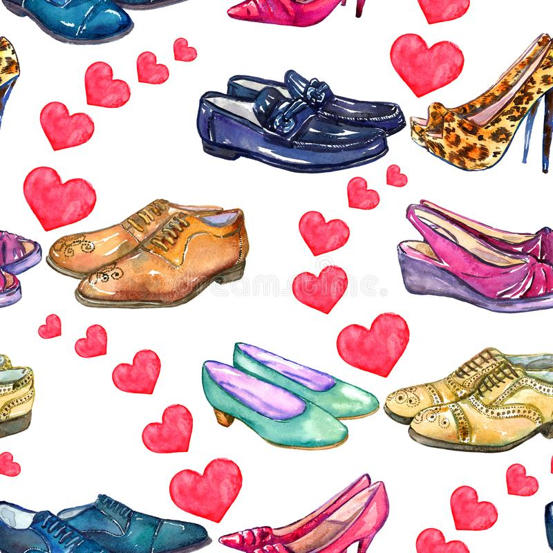 Verschiedene Arten von Herren ` s und Dame ` s von Schuhen in der Liebe, ausgebreitete rosa Herzen, nahtloses Muster auf weißem H vektor abbildung