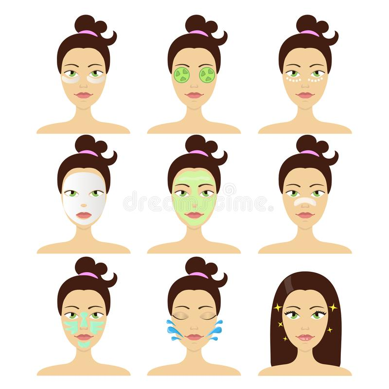 Verschiedene Arten von kosmetischen im Gesichtmasken Vektor lokalisierte die eingestellten Illustrationen lizenzfreie abbildung