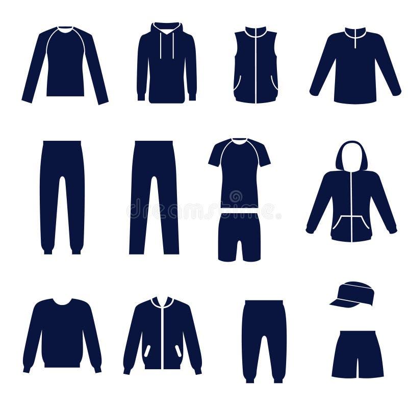 Verschiedene Arten von men's Kleidung für Sport lizenzfreie abbildung