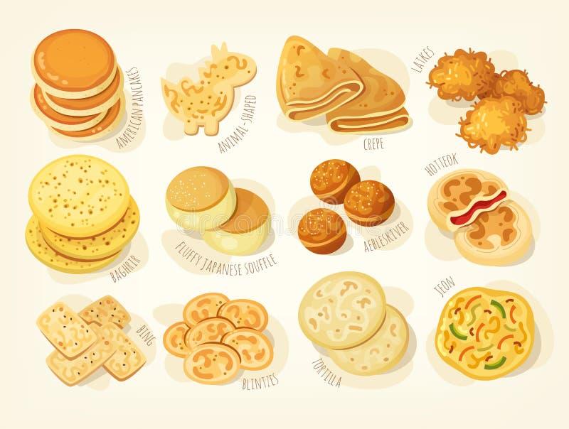 Verschiedene Arten von Pfannkuchen stockbild