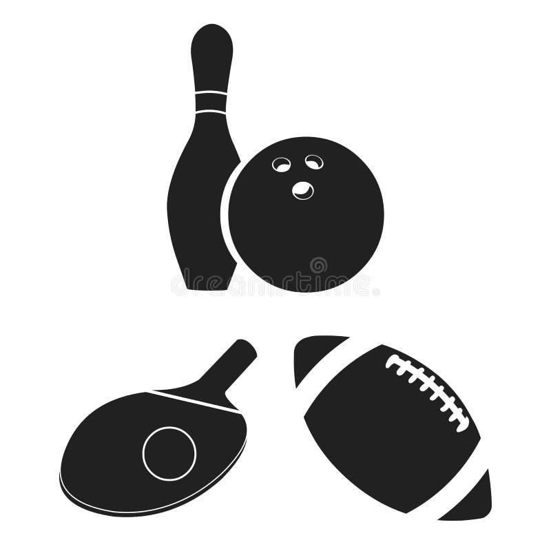 Verschiedene Arten von schwarzen Ikonen des Sports in der Satzsammlung für Design Sportausrüstungs-Vektorsymbolvorrat-Netzillustr stock abbildung
