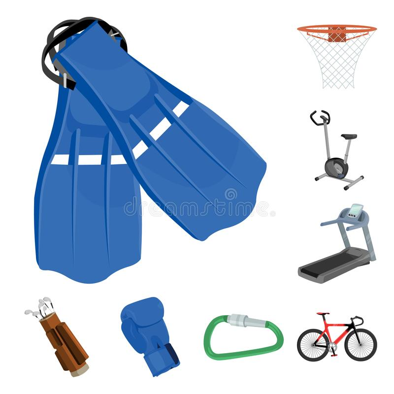 Verschiedene Arten von Sportkarikaturikonen in der Satzsammlung für Design Sportausrüstungs-Vektorsymbol-Vorratnetz lizenzfreie abbildung