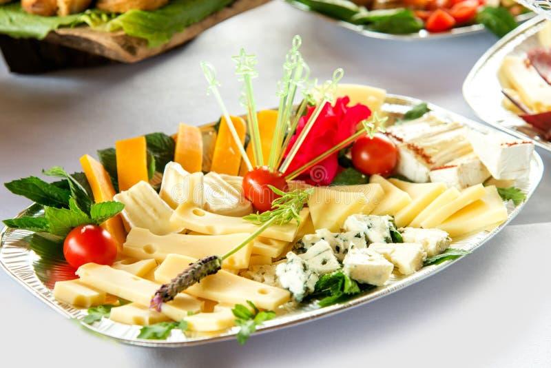 Verschiedene Arten Zartheit des Fleisches und des Käses vereinbarten in einer Platte über hellem Hintergrund stockfotos