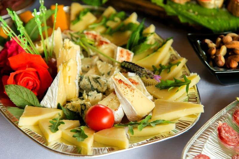 Verschiedene Arten Zartheit des Fleisches und des Käses vereinbarten in einer Platte über hellem Hintergrund stockfotografie